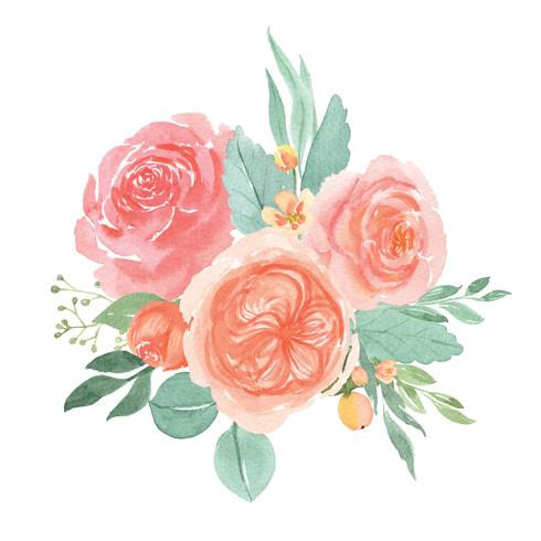 Watercolor florals hand painted bouquets lush flowers llustration vintage style