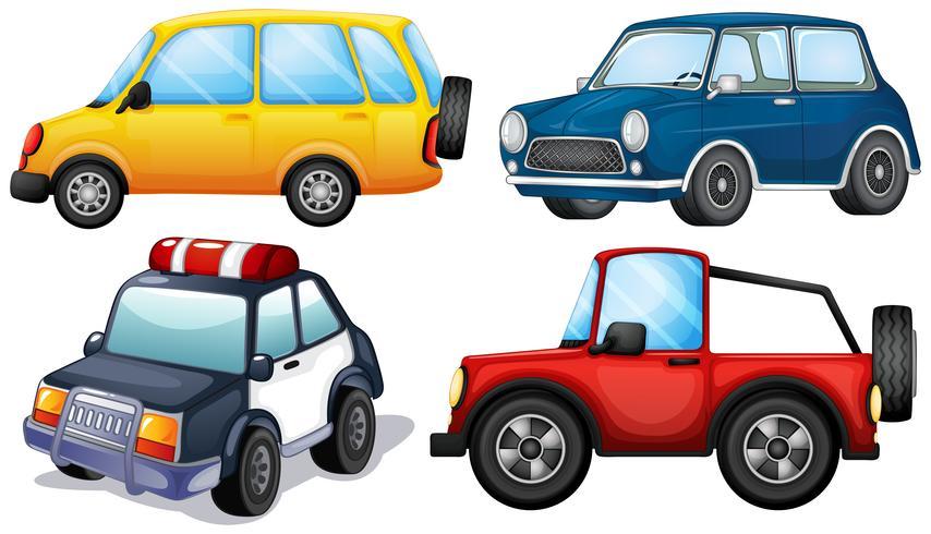 Cuatro autos diferentes vector