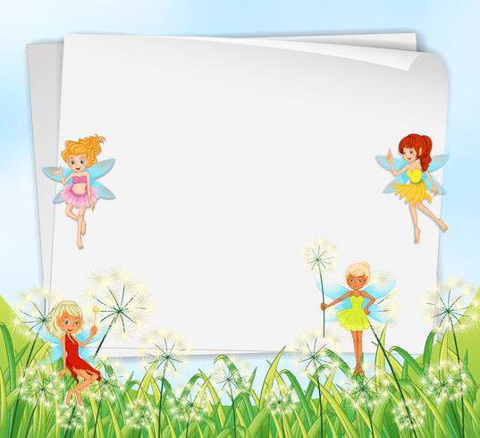 Lege papieren sjablonen met feeën