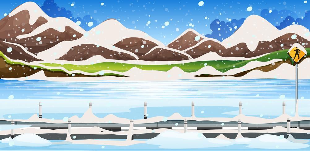 Scène de fond de neige sur les montagnes vecteur