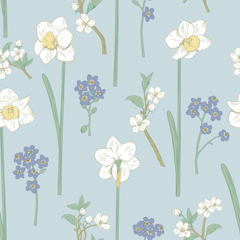 Motivo floreale senza soluzione di continuità. Narcisi, non dimenticarmi di fiori e sakura. Illustrazione vettoriale