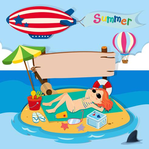 Summer theme with girl on island vector