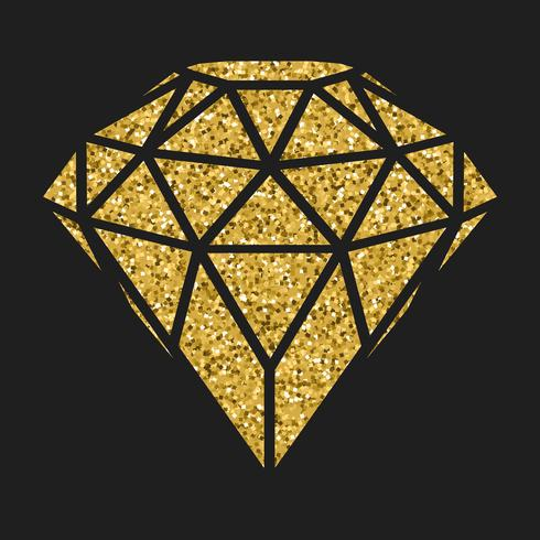 Geometrical golden glitter diamond isolated on blackbackground. vector