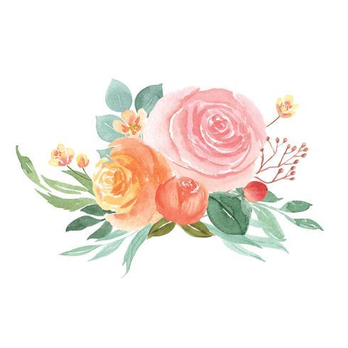 Acuarelas florales pintadas a mano ramos de flores exuberantes ilustración estilo vintage vector
