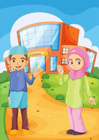 Un homme et une femme musulmane devant un bâtiment scolaire vecteur