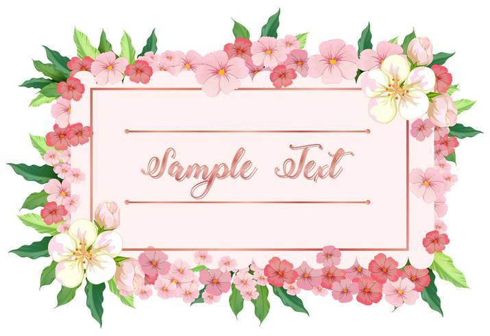 Modèle de carte avec des fleurs roses autour de la frontière vecteur