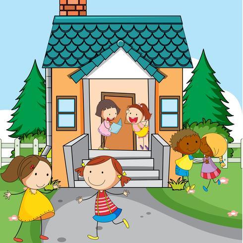 Enfants simples en face de la maison vecteur