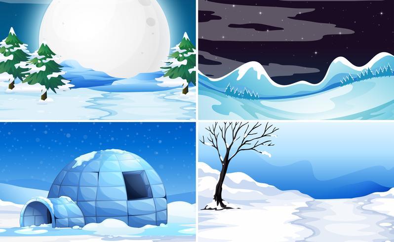 Set di sfondo di neve vettore