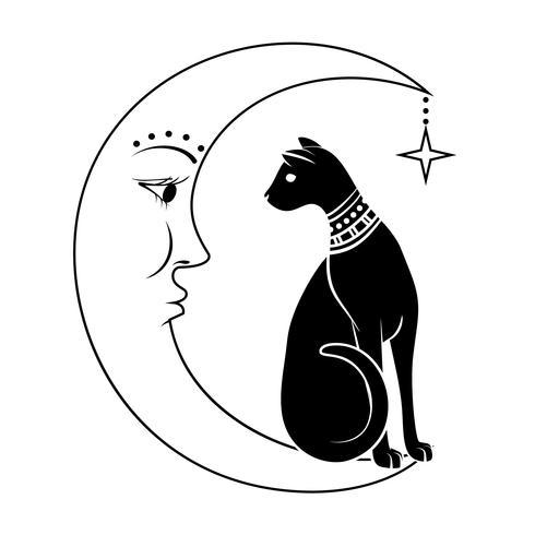 Katten på månen. Vektor illustration. Kan användas som tatuering, boho design, halloween design