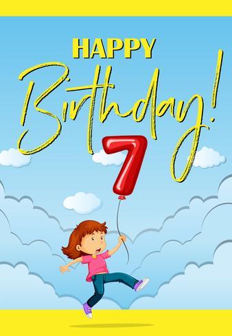 Tarjeta de nacimiento con niña y globo número siete. vector