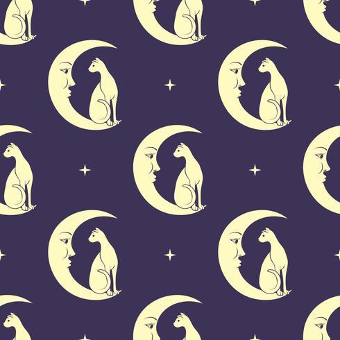 Gato sentado en la luna. Fondo inconsútil del modelo del cielo nocturno. Magia linda, diseño oculto. Vector