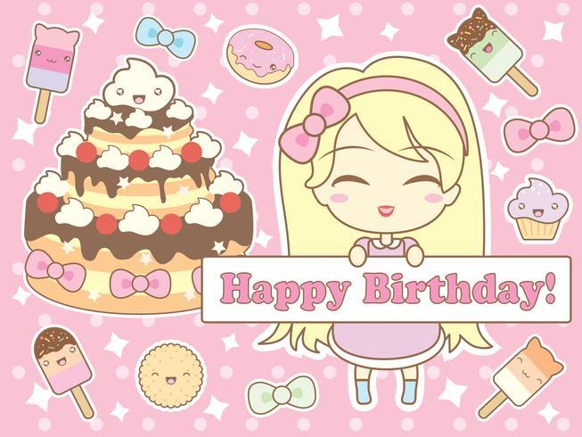Tarjeta de feliz cumpleaños en estilo kawaii