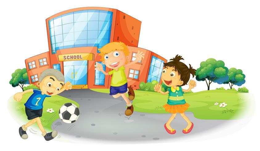 Kinderen voetballen op school