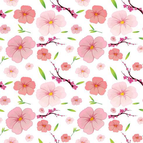 Ibisco rosa e sakura sfondo senza soluzione di continuità vettore