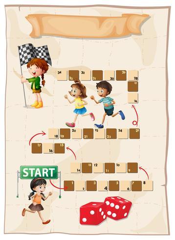 Modello di gioco con i bambini che corrono in gara vettore
