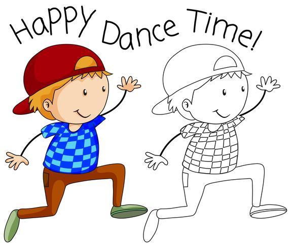 Doodle lycklig dansare karaktär