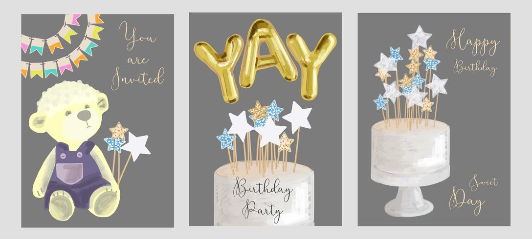 Set of birthday greeting cards design. vector