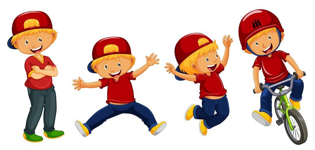 Ragazzi in maglietta rossa in quattro azioni