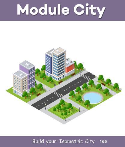 Idea di business concetto di telefono città. 3d isometrico grattacielo