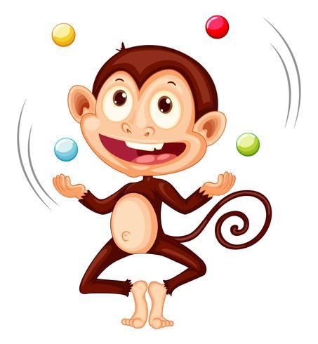 Una scimmia giocoleria palle su sfondo bianco vettore