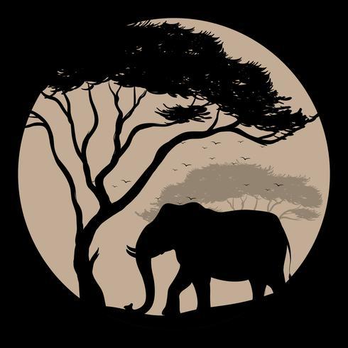 Scène de silhouette avec éléphant et arbre vecteur