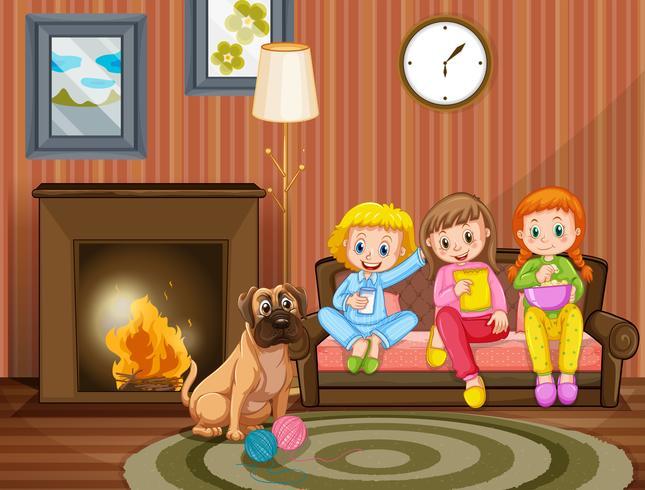 Três meninas, sentar sofá, com, cachorro pet