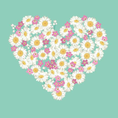 Heart shape. chamomile and forget-me-not flowers on blue background