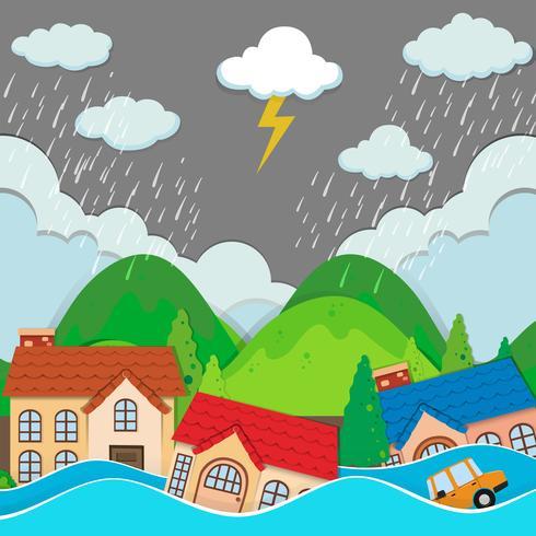 Een stedelijke stad onder overstroming