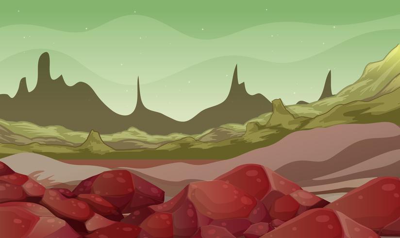 Scena di sfondo con rocce nel campo vettore