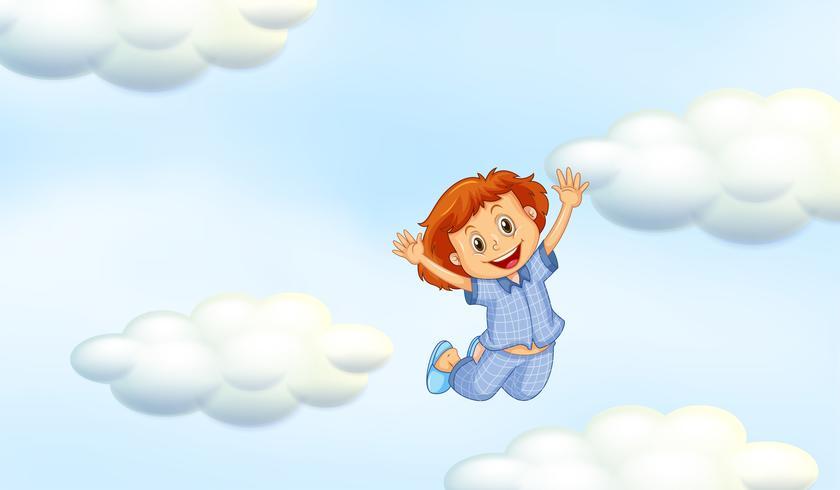 Glad tjej i blå pyjamas i himmel