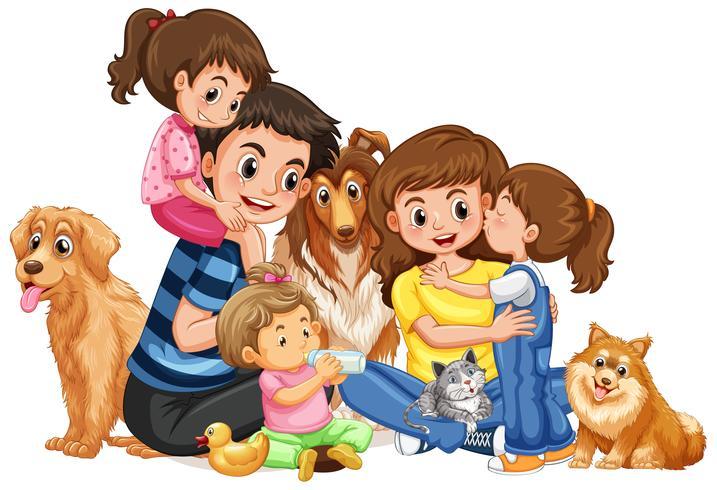 Glückliche Familie mit vier Kindern und Haustieren