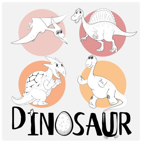Four types of dinosaurs on round badge vector
