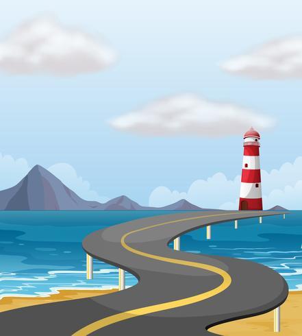 Puente de la curva a través del océano
