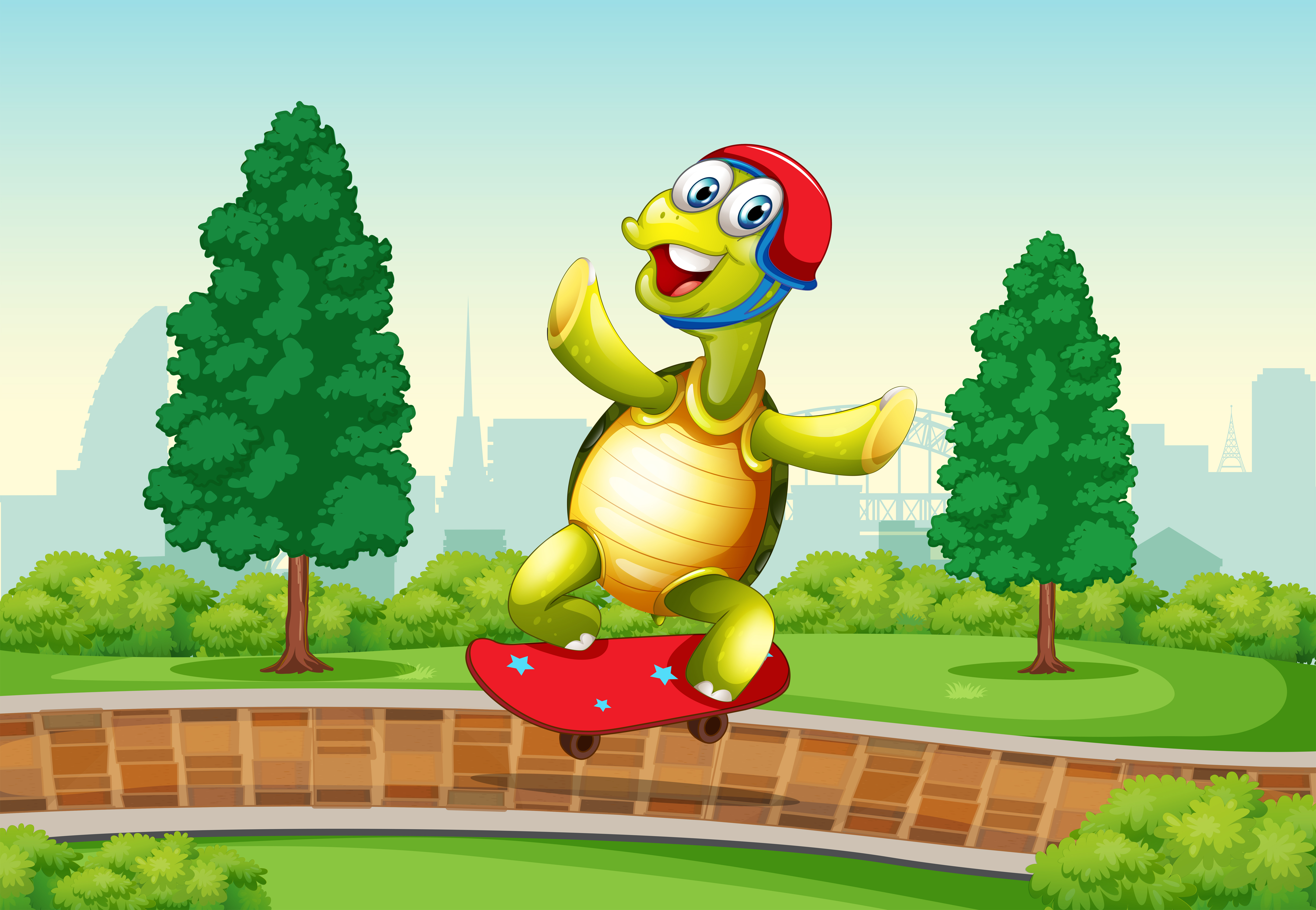 Cute Watercolor Olumpic Sports Equipment Background Vector: Turtle Playing Skateboard In The Park