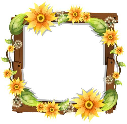 Schöne Sonnenblume auf Holzrahmen