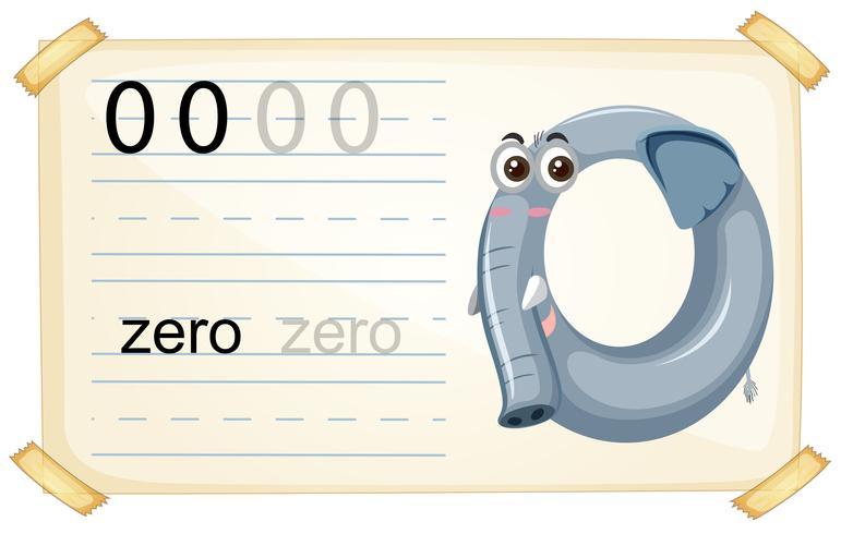 Hoja de trabajo número elefante cero vector