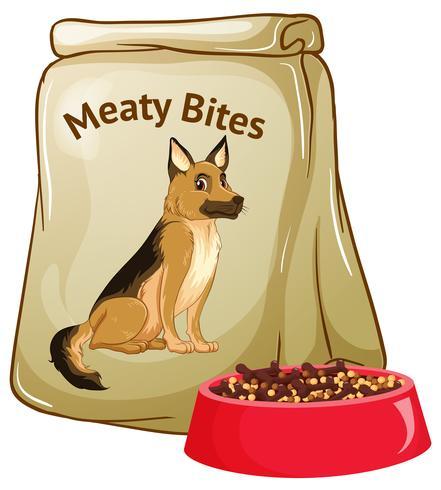 Comida para perros sobre fondo blanco vector