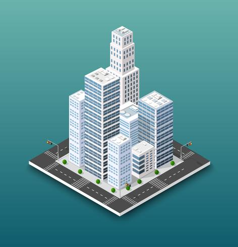 City isometric concept of urban infrastructure business