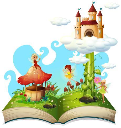 Thème de conte de fées livre ouvert vecteur