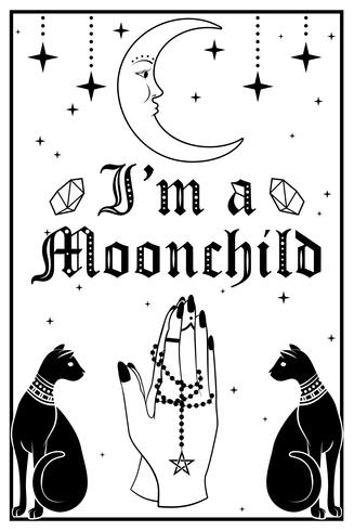 Black Cats and the Moon. Praying hands holding a rosary. I am a Moonchild text vector