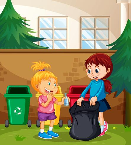 Kinder sortieren den Abfall