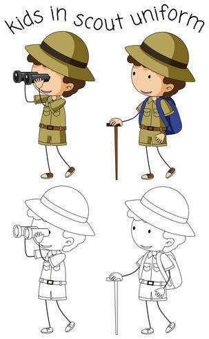 Carattere di boy scout su sfondo bianco