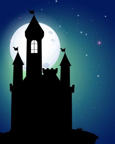 Silueta de castillo bajo la luna llena vector