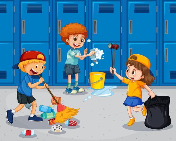 Estudiante limpiando el pasillo vector