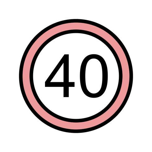 Vector Speed limit 40 Icon