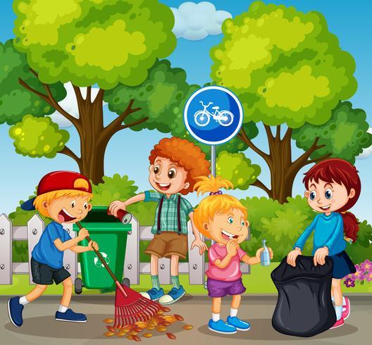 Los buenos niños están limpiando el parque vector