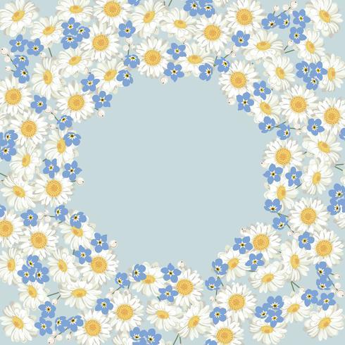 camomila e esquecer-me-não-padrão de flores sobre fundo azul