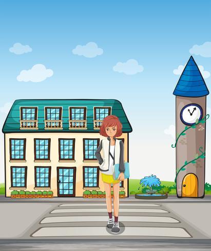 Une fille qui marche dans la rue vecteur