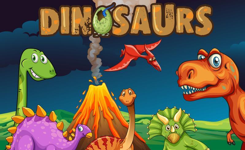 Diferentes tipos de dinosaurios en la noche.