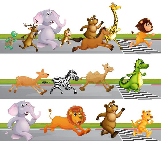 Animals Running Race at Finish Line